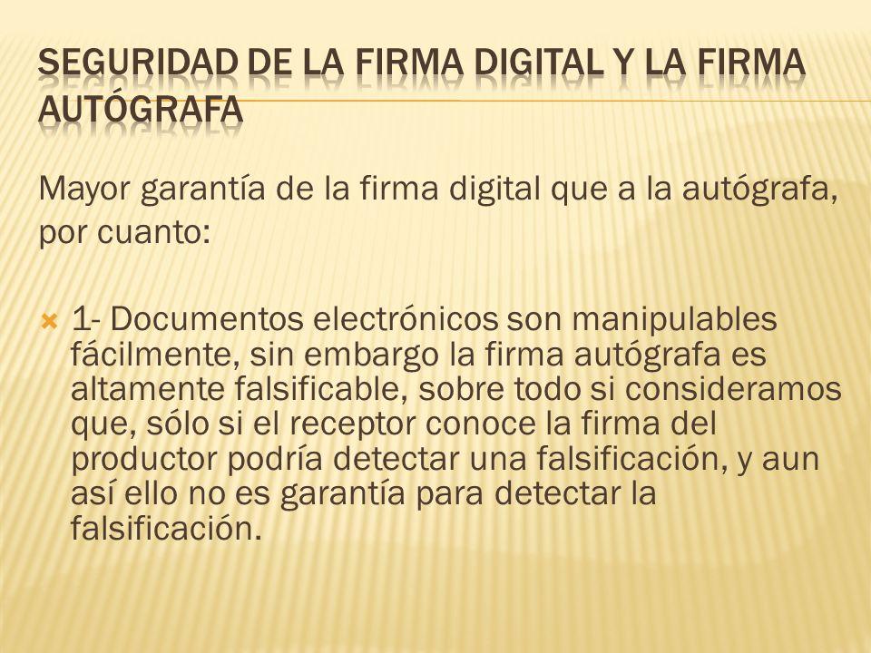 seguridad de la firma digital y la firma autógrafa