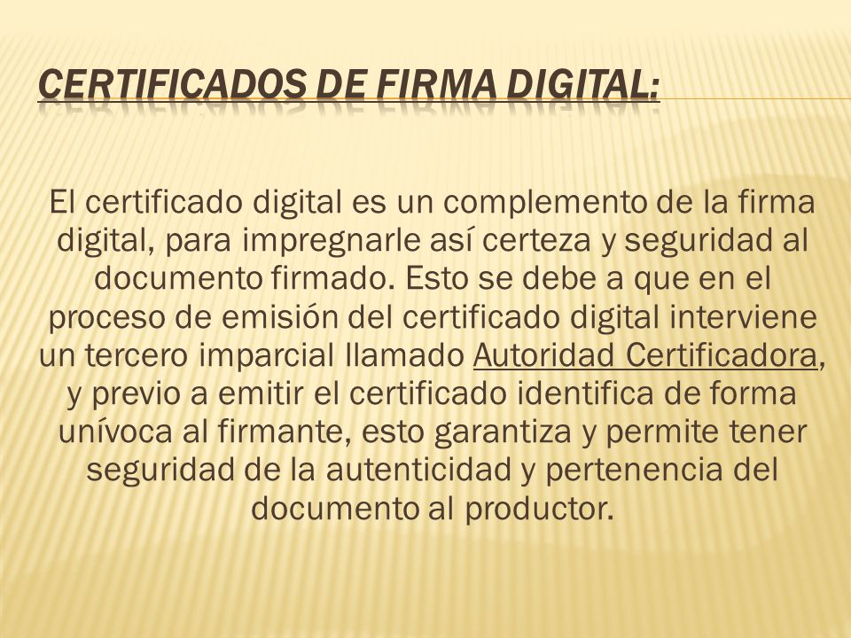 Certificados de firma digital: