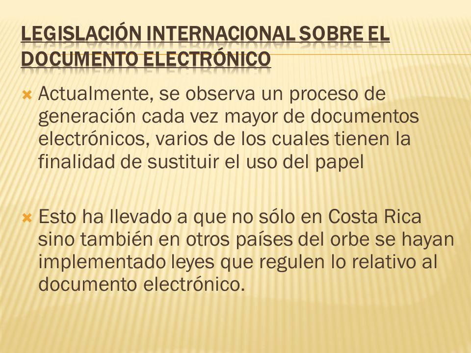 LEGISLACIÓN INTERNACIONAL SOBRE EL DOCUMENTO ELECTRÓNICO