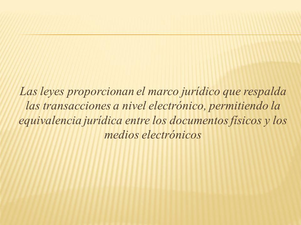 Las leyes proporcionan el marco jurídico que respalda las transacciones a nivel electrónico, permitiendo la equivalencia jurídica entre los documentos físicos y los medios electrónicos