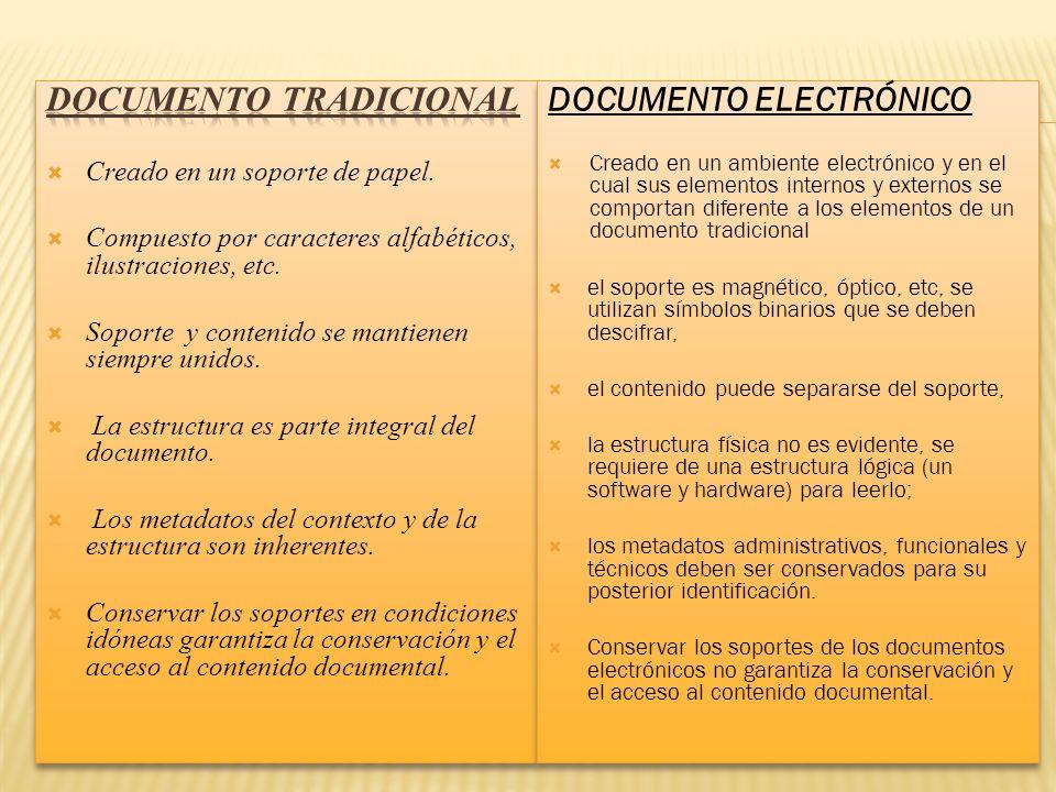 DOCUMENTo TRADICIONAL DOCUMENTO ELECTRÓNICO