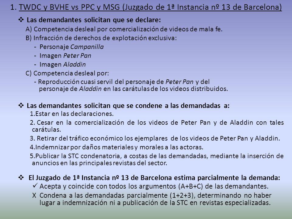 1. TWDC y BVHE vs PPC y MSG (Juzgado de 1ª Instancia nº 13 de Barcelona)