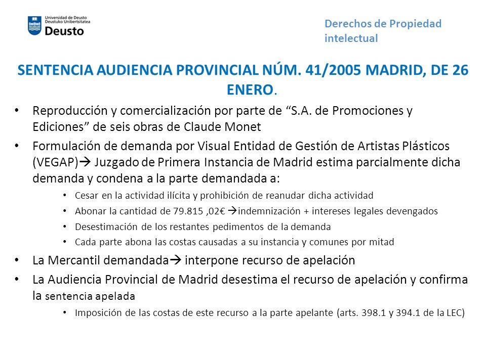 SENTENCIA AUDIENCIA PROVINCIAL NÚM. 41/2005 MADRID, DE 26 ENERO.