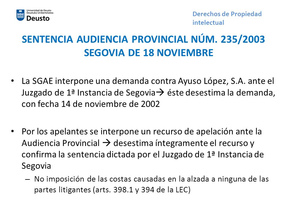 SENTENCIA AUDIENCIA PROVINCIAL NÚM. 235/2003 SEGOVIA DE 18 NOVIEMBRE