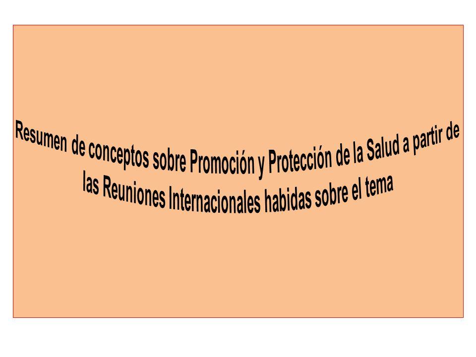 Resumen de conceptos sobre Promoción y Protección de la Salud a partir de las Reuniones Internacionales habidas sobre el tema