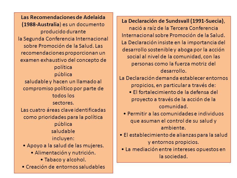 la Segunda Conferencia Internacional sobre Promoción de la Salud. Las