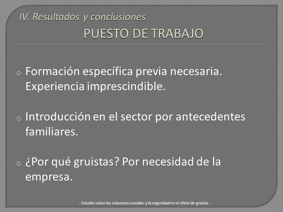 IV. Resultados y conclusiones PUESTO DE TRABAJO