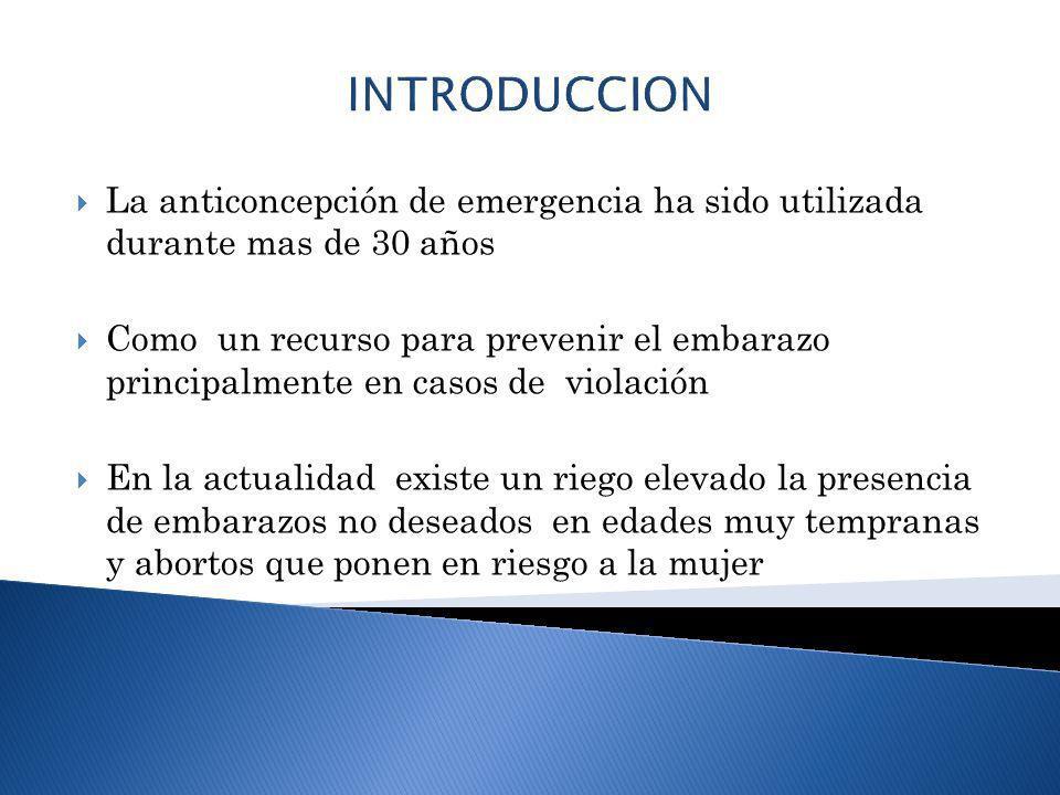 INTRODUCCION La anticoncepción de emergencia ha sido utilizada durante mas de 30 años.