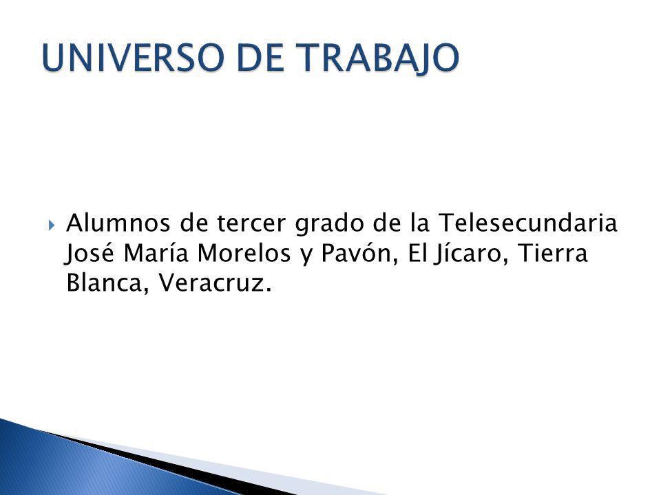 UNIVERSO DE TRABAJO Alumnos de tercer grado de la Telesecundaria José María Morelos y Pavón, El Jícaro, Tierra Blanca, Veracruz.