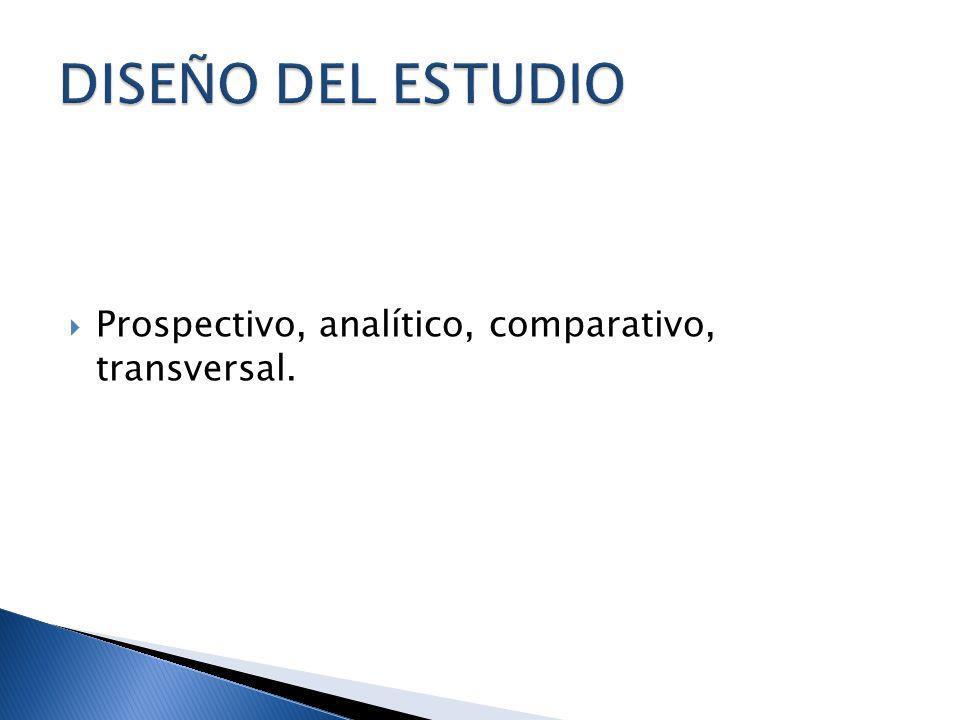 DISEÑO DEL ESTUDIO Prospectivo, analítico, comparativo, transversal.