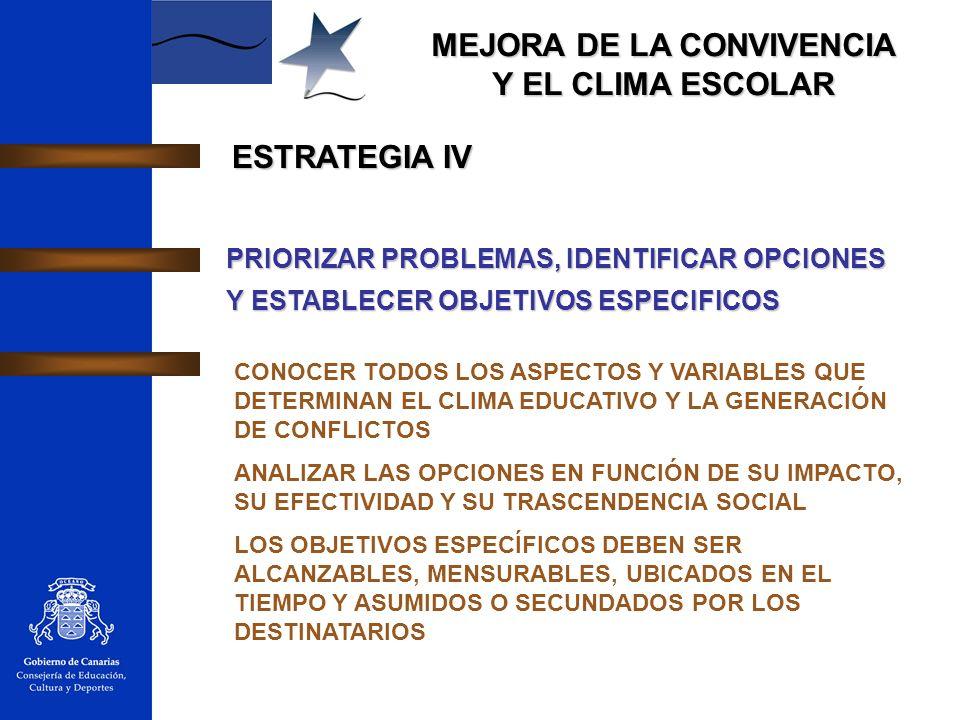 ESTRATEGIA IV PRIORIZAR PROBLEMAS, IDENTIFICAR OPCIONES Y ESTABLECER OBJETIVOS ESPECIFICOS.