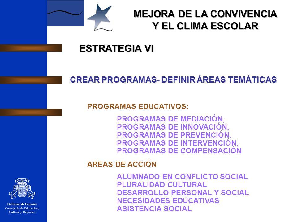ESTRATEGIA VI CREAR PROGRAMAS- DEFINIR ÁREAS TEMÁTICAS