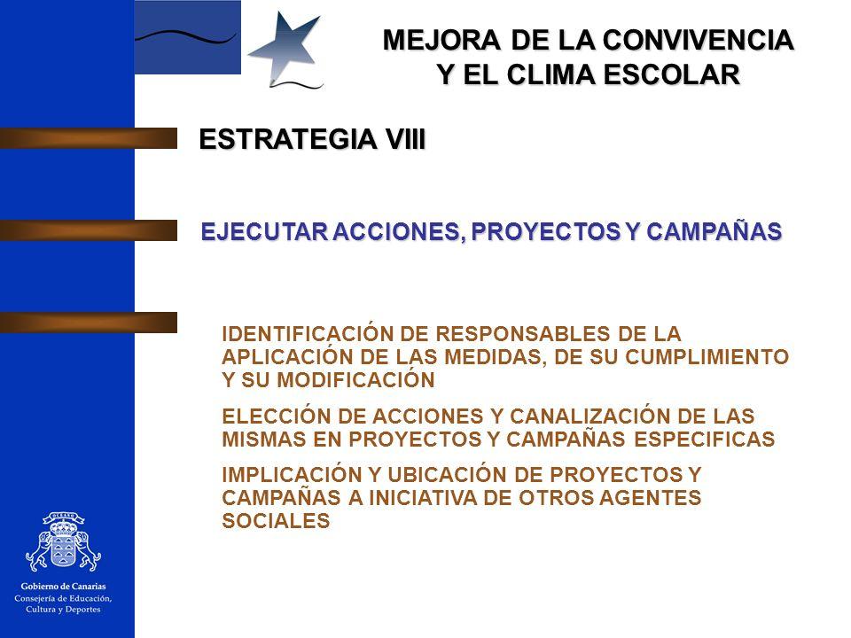 ESTRATEGIA VIII EJECUTAR ACCIONES, PROYECTOS Y CAMPAÑAS