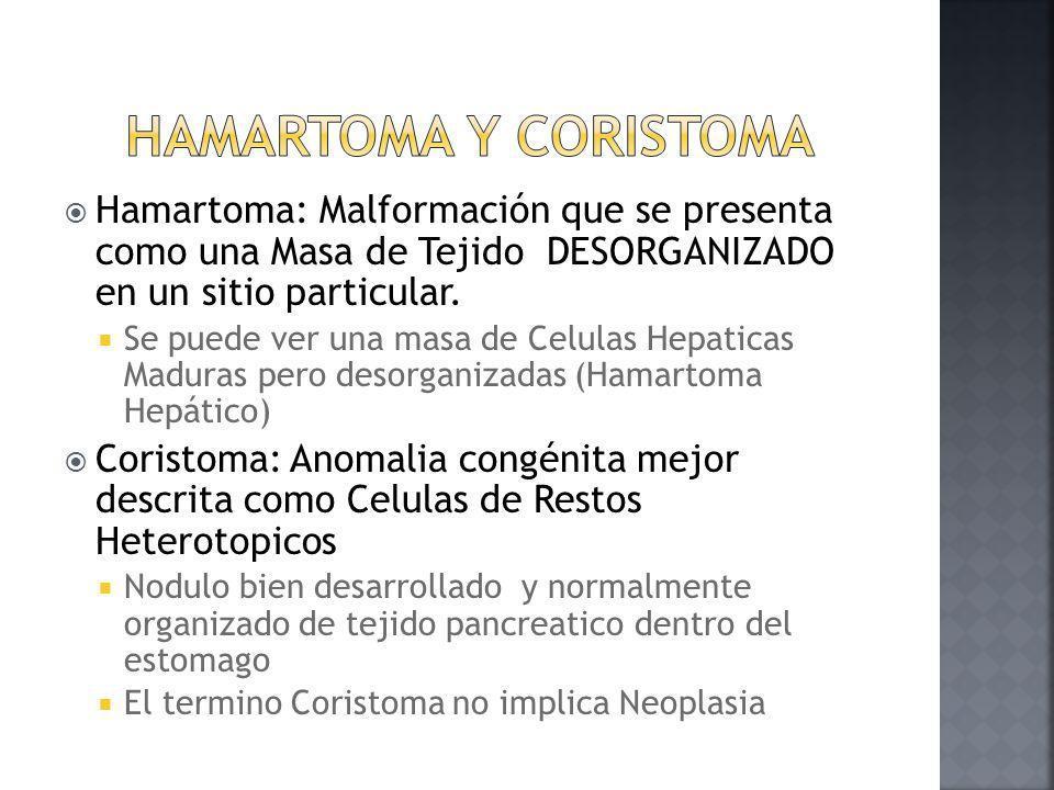 Hamartoma y Coristoma Hamartoma: Malformación que se presenta como una Masa de Tejido DESORGANIZADO en un sitio particular.
