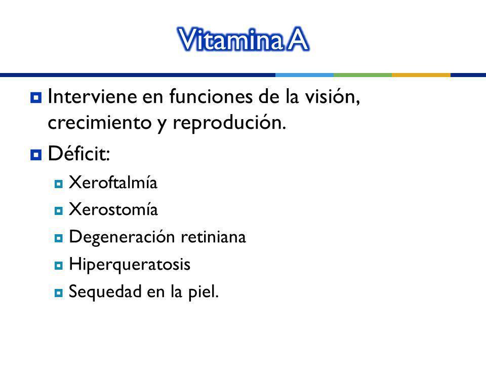 Vitamina A Interviene en funciones de la visión, crecimiento y reprodución. Déficit: Xeroftalmía.