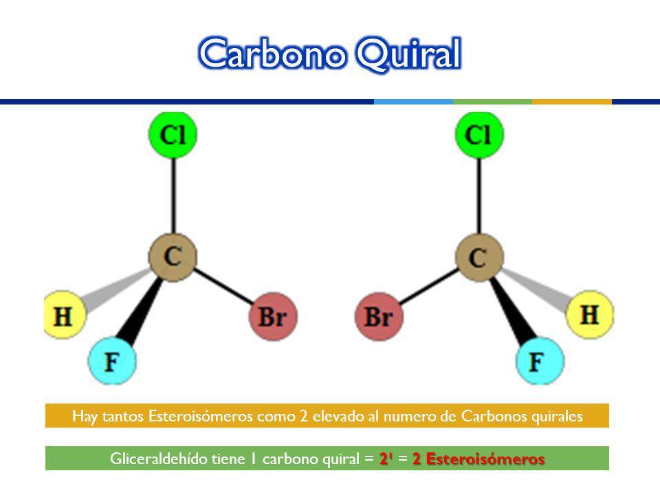 Gliceraldehído tiene 1 carbono quiral = 2¹ = 2 Esteroisómeros