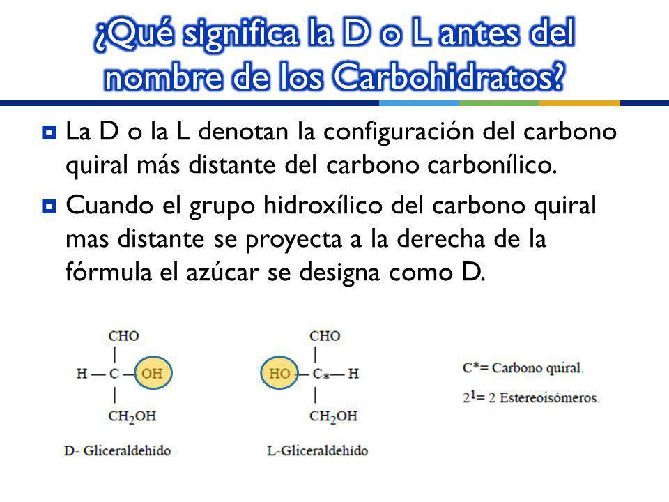 ¿Qué significa la D o L antes del nombre de los Carbohidratos