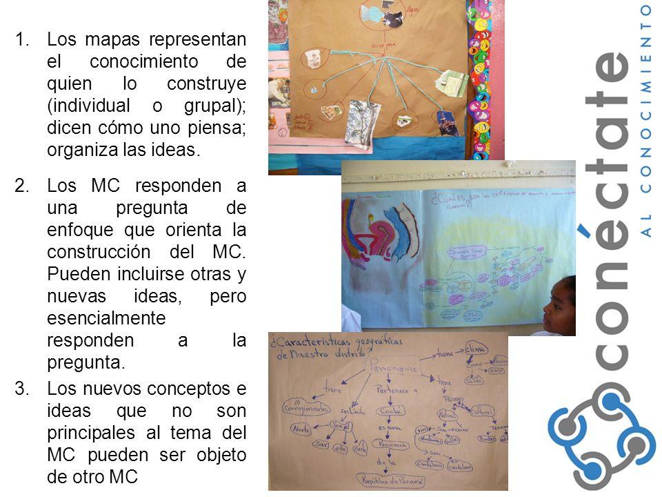 Los mapas representan el conocimiento de quien lo construye (individual o grupal); dicen cómo uno piensa; organiza las ideas.