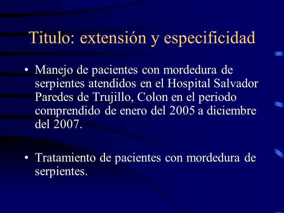 Titulo: extensión y especificidad