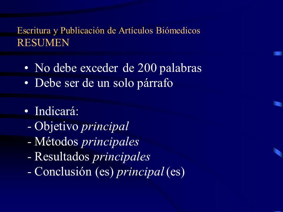 Escritura y Publicación de Artículos Biómedicos RESUMEN