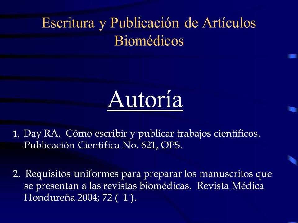 Escritura y Publicación de Artículos Biomédicos