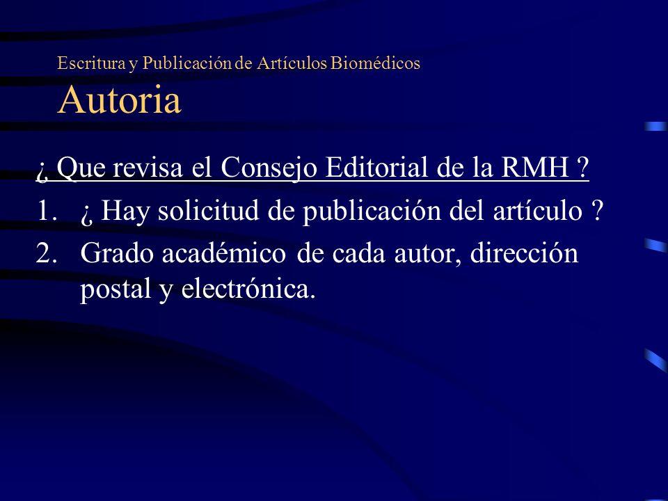 Escritura y Publicación de Artículos Biomédicos Autoria
