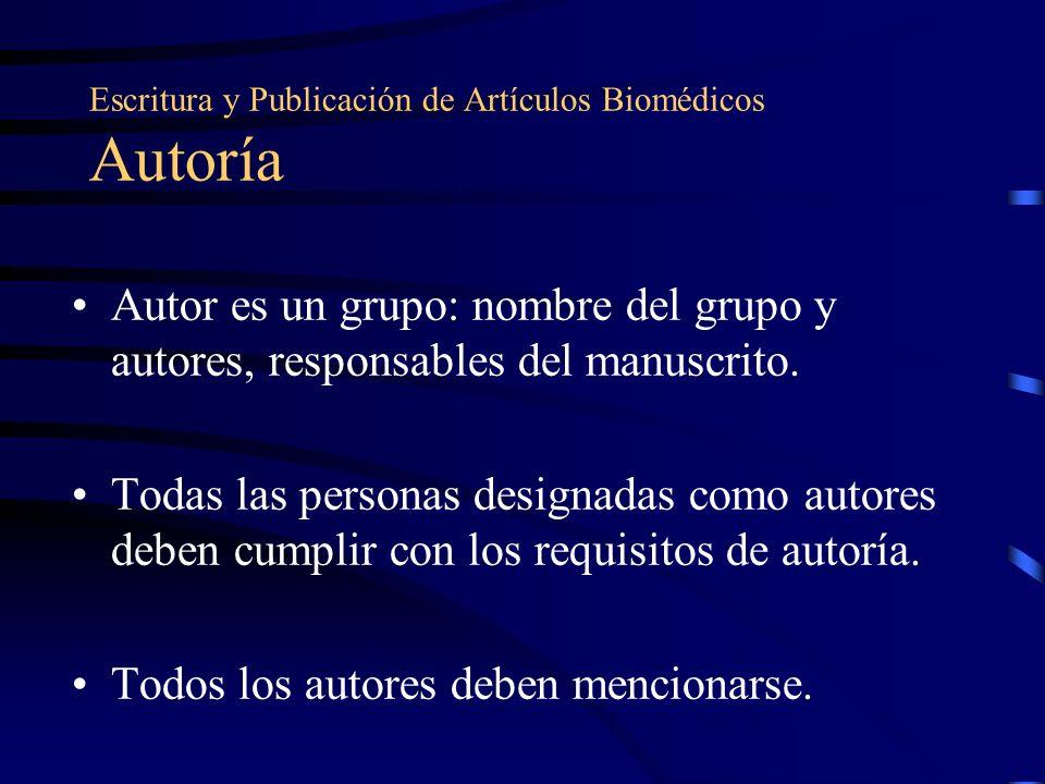 Escritura y Publicación de Artículos Biomédicos Autoría