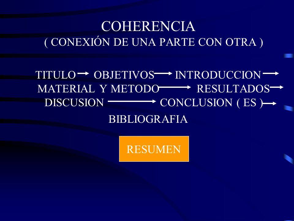 COHERENCIA ( CONEXIÓN DE UNA PARTE CON OTRA )