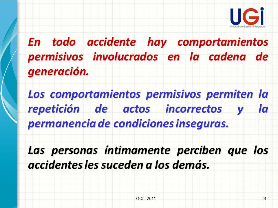 En todo accidente hay comportamientos permisivos involucrados en la cadena de generación.
