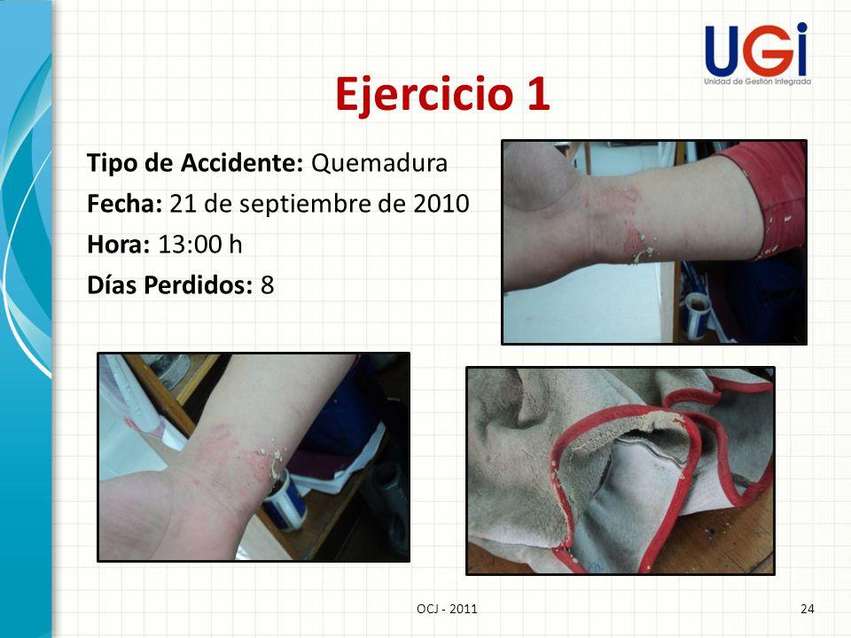 Ejercicio 1 Tipo de Accidente: Quemadura Fecha: 21 de septiembre de 2010 Hora: 13:00 h Días Perdidos: 8