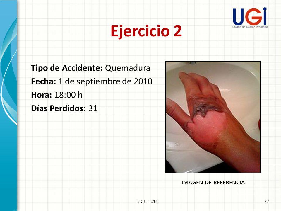 Ejercicio 2 Tipo de Accidente: Quemadura Fecha: 1 de septiembre de 2010 Hora: 18:00 h Días Perdidos: 31