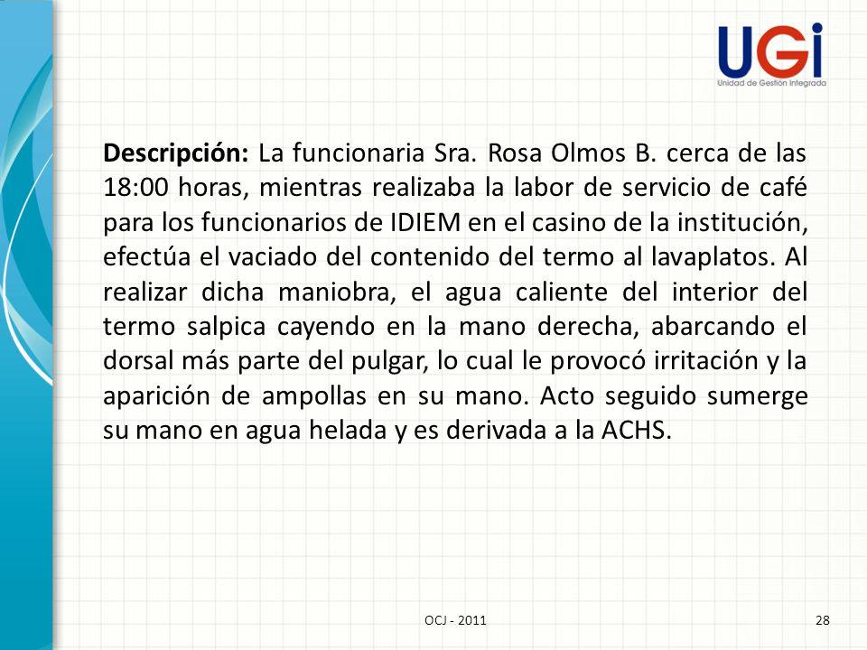 Descripción: La funcionaria Sra. Rosa Olmos B