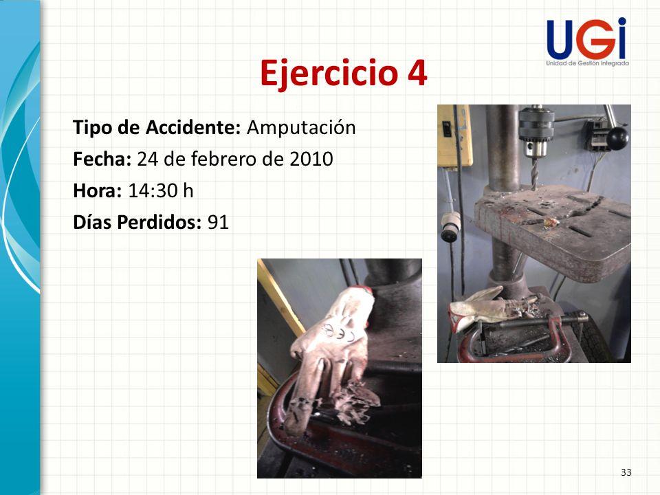 Ejercicio 4 Tipo de Accidente: Amputación Fecha: 24 de febrero de 2010 Hora: 14:30 h Días Perdidos: 91