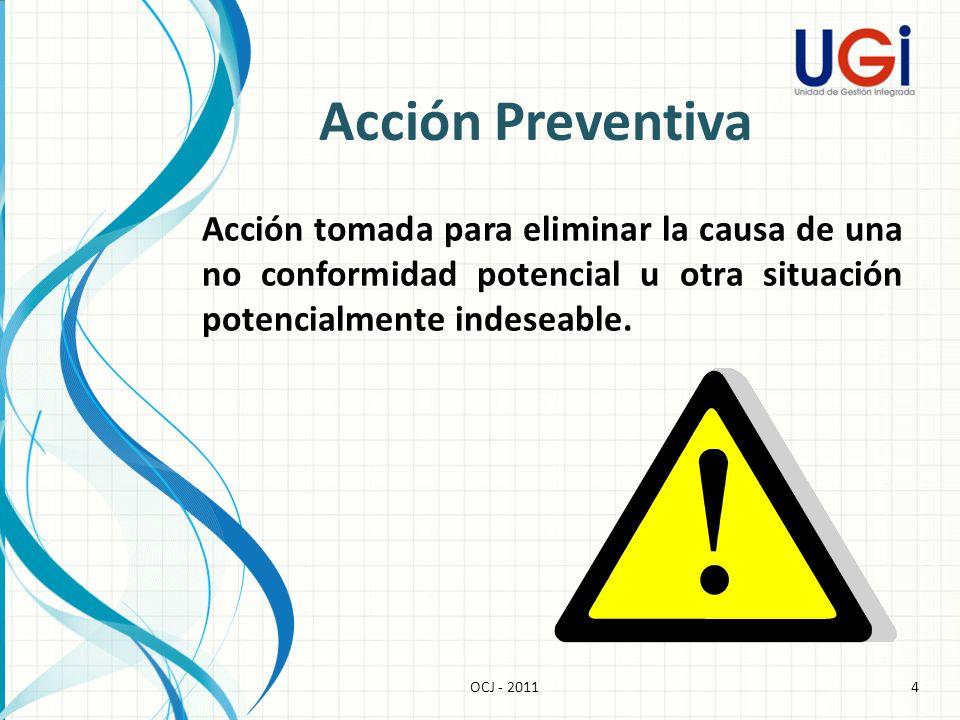 Acción Preventiva Acción tomada para eliminar la causa de una no conformidad potencial u otra situación potencialmente indeseable.