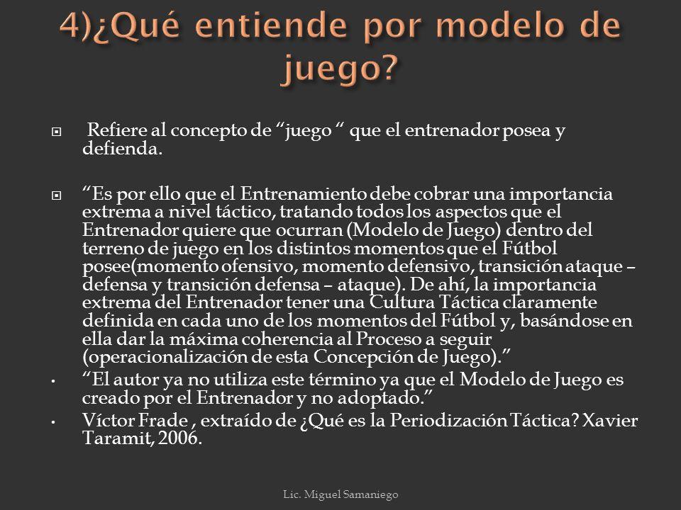 4)¿Qué entiende por modelo de juego
