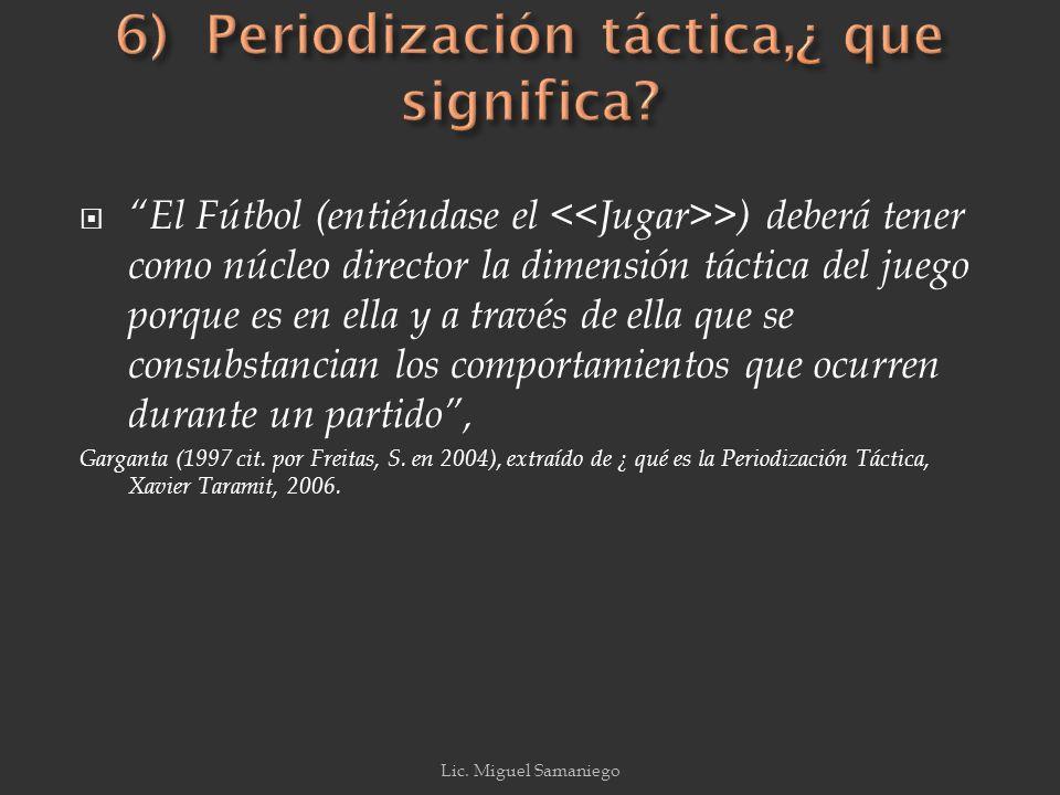 6) Periodización táctica,¿ que significa