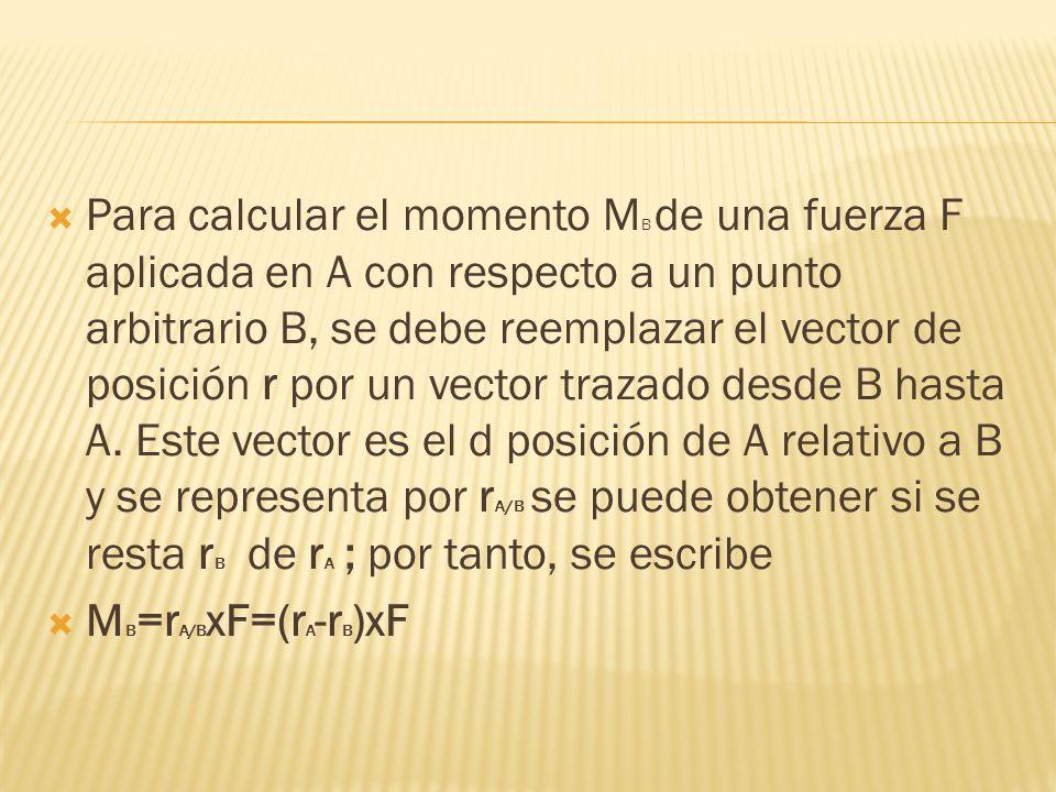 Para calcular el momento MB de una fuerza F aplicada en A con respecto a un punto arbitrario B, se debe reemplazar el vector de posición r por un vector trazado desde B hasta A. Este vector es el d posición de A relativo a B y se representa por rA/B se puede obtener si se resta rB de rA ; por tanto, se escribe
