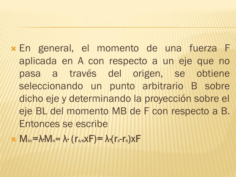 En general, el momento de una fuerza F aplicada en A con respecto a un eje que no pasa a través del origen, se obtiene seleccionando un punto arbitrario B sobre dicho eje y determinando la proyección sobre el eje BL del momento MB de F con respecto a B. Entonces se escribe