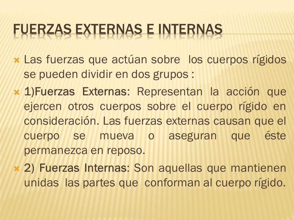 Fuerzas externas e internas