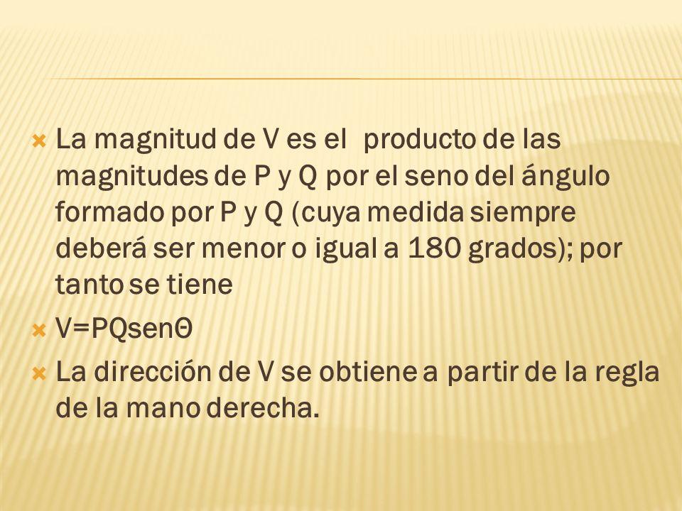 La magnitud de V es el producto de las magnitudes de P y Q por el seno del ángulo formado por P y Q (cuya medida siempre deberá ser menor o igual a 180 grados); por tanto se tiene