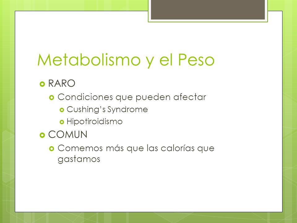 Metabolismo y el Peso RARO COMUN Condiciones que pueden afectar