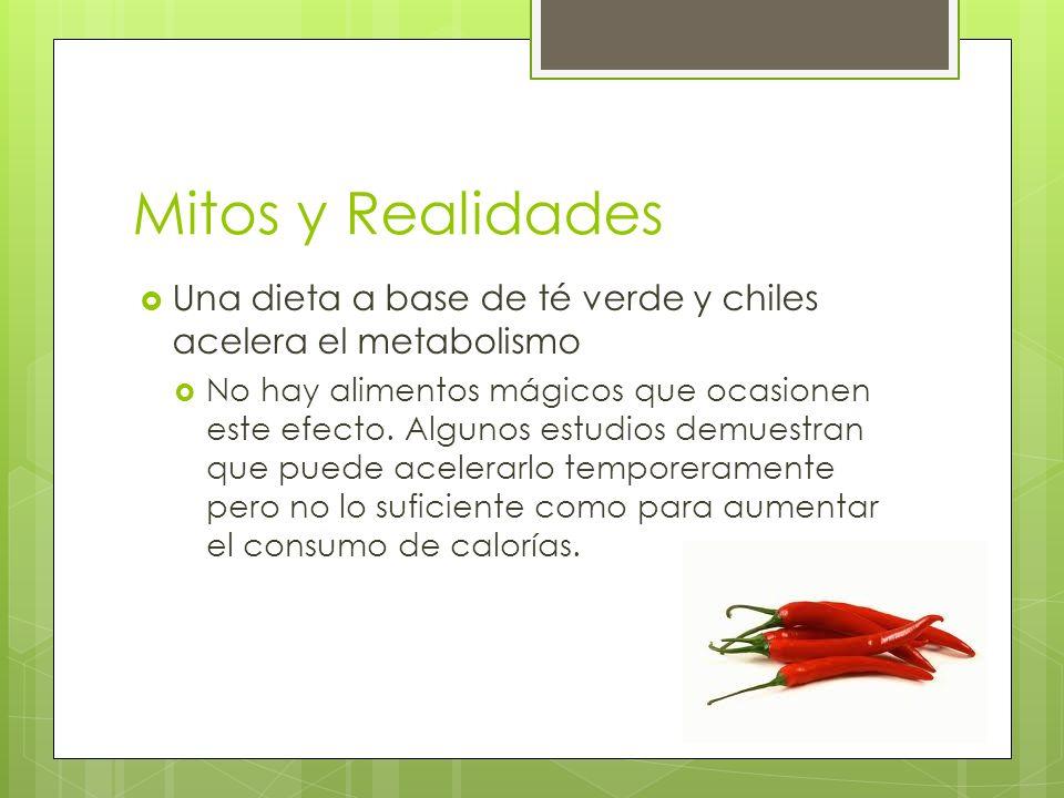 Mitos y Realidades Una dieta a base de té verde y chiles acelera el metabolismo.