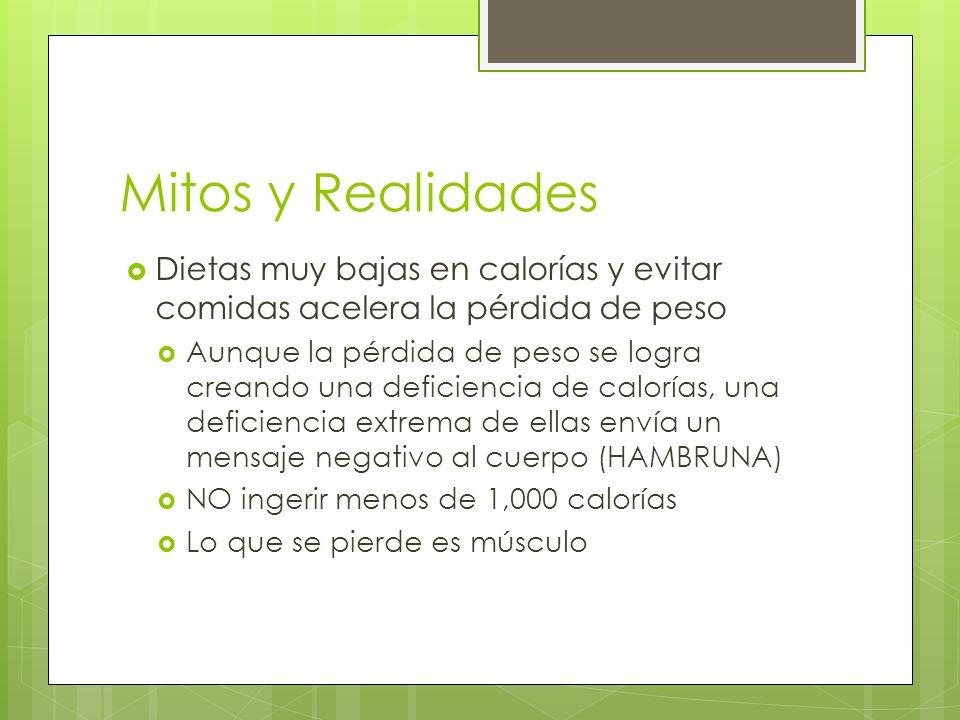 Mitos y Realidades Dietas muy bajas en calorías y evitar comidas acelera la pérdida de peso.