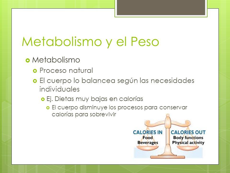 Metabolismo y el Peso Metabolismo Proceso natural