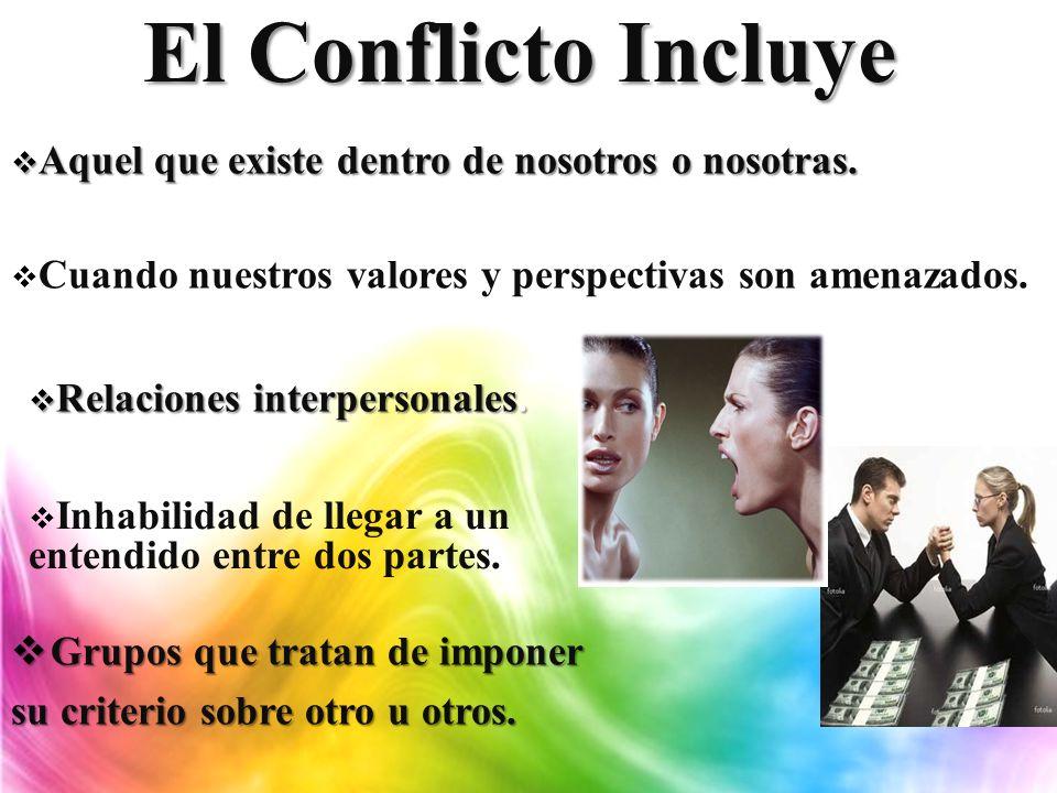 El Conflicto Incluye Aquel que existe dentro de nosotros o nosotras.