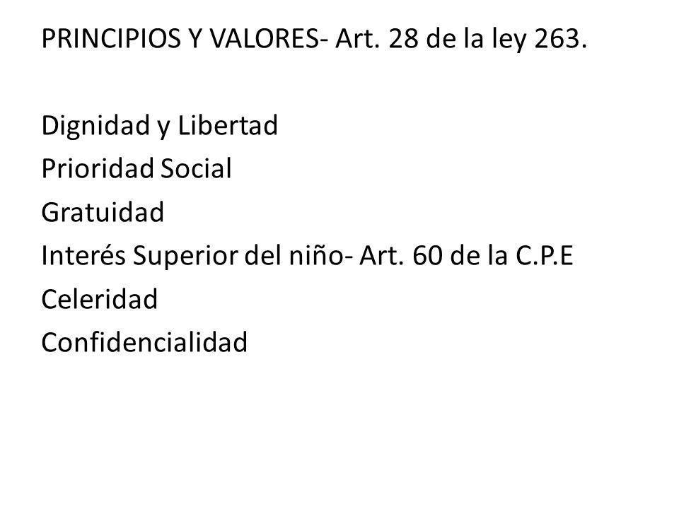 PRINCIPIOS Y VALORES- Art. 28 de la ley 263