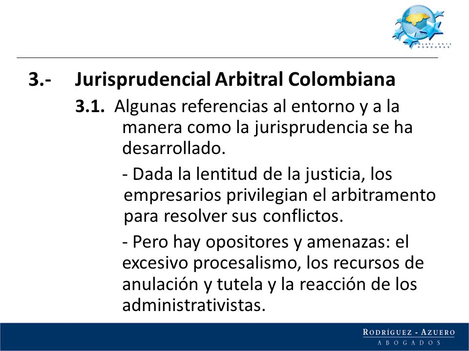 3.- Jurisprudencial Arbitral Colombiana