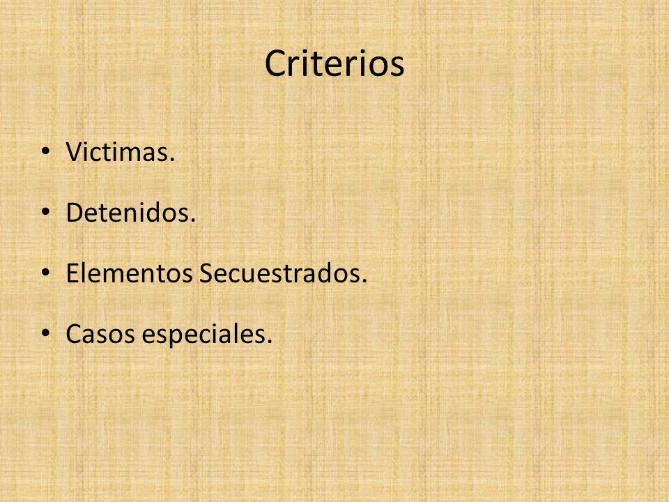 Criterios Victimas. Detenidos. Elementos Secuestrados.