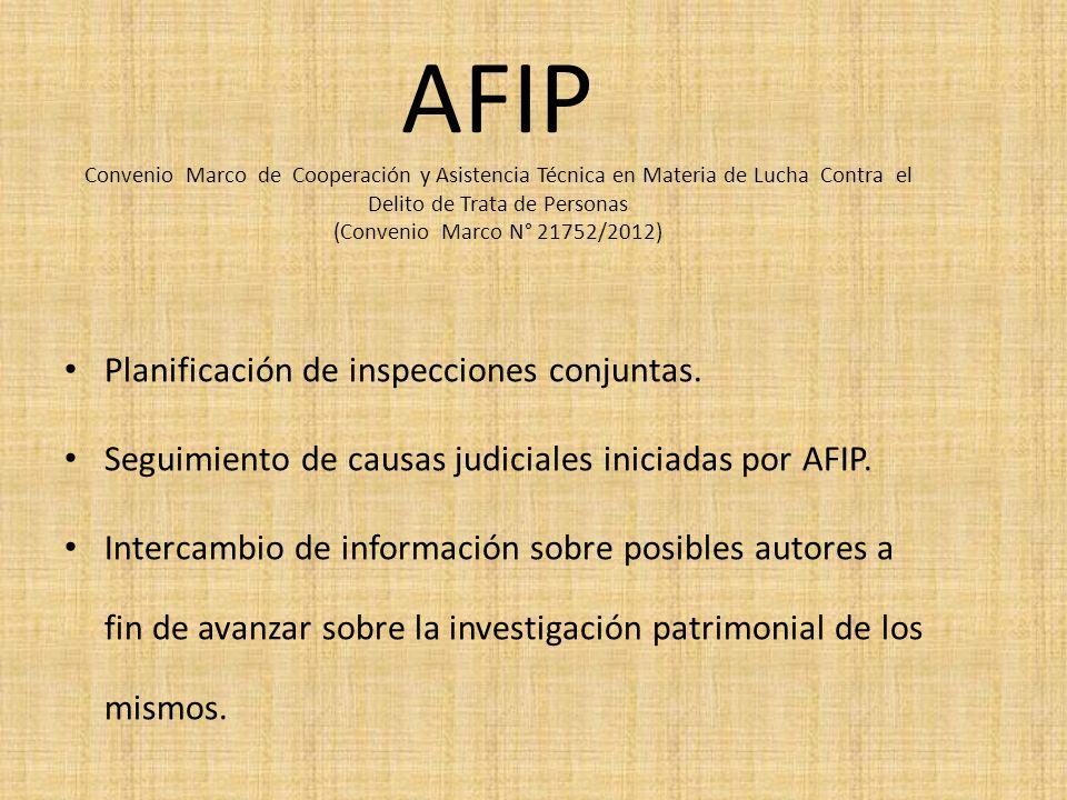 AFIP Convenio Marco de Cooperación y Asistencia Técnica en Materia de Lucha Contra el Delito de Trata de Personas (Convenio Marco N° 21752/2012)