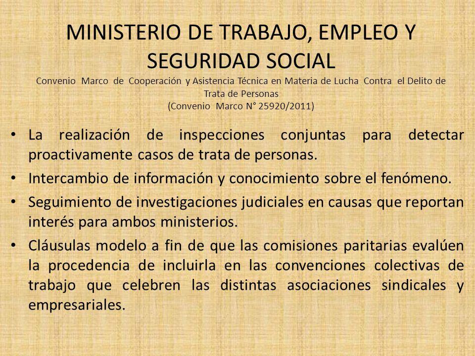 MINISTERIO DE TRABAJO, EMPLEO Y SEGURIDAD SOCIAL Convenio Marco de Cooperación y Asistencia Técnica en Materia de Lucha Contra el Delito de Trata de Personas (Convenio Marco N° 25920/2011)